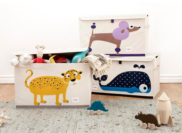 Toy Chest in Gray Elephant & Blue Whale by 3 Sprouts.